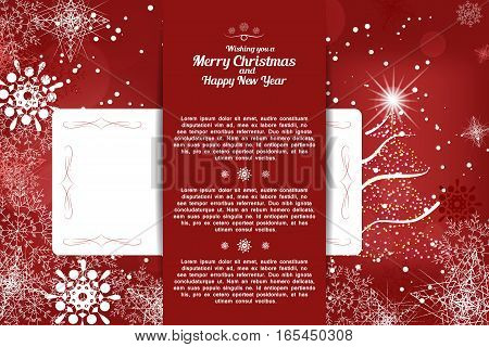 Vector envelope with insert for Happy New Year and Merry Christmas on the abstract dark red background with Christmas tree snowfall and snowflakes pattern.