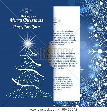 Vector illustration of greetings envelope with christmas tree and insert for Merry Christmas and Happy New Year on the abstract blue background with radiance and snowflakes.