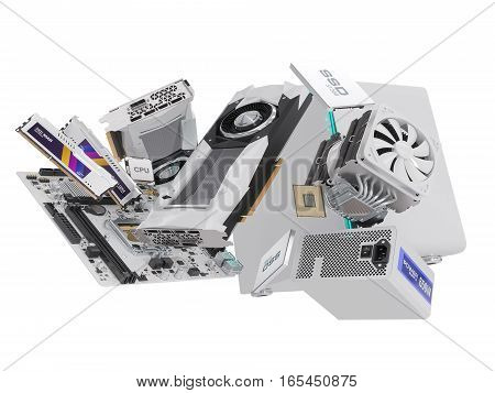 PC hardware components isolated on white. 3d illustration
