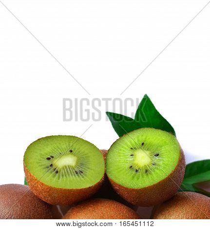 Slice of healthy ripe kiwi on white background. Kiwi fruit on white