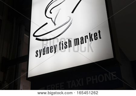 Sydney, Australia - June 27, 2016: Close-up of Sydney Fish Market sign in Sydney.