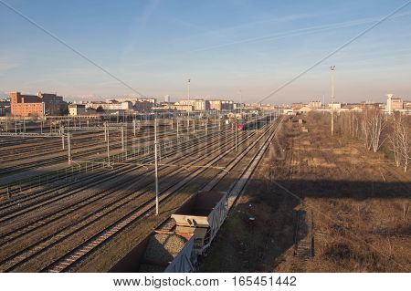 Italy Turin - January 5 2015: view of Olympic Arch of Turin buildings railways Lingotto district on January 05 2015 in Turin Italy.