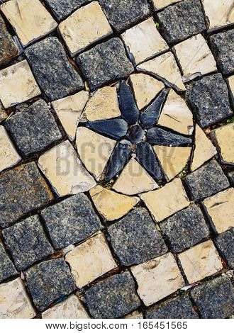 Portugal, Lisbon, view of the Cobble stone Pavement Pattern.