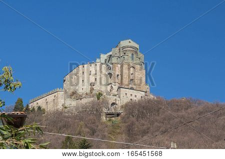 Italy Piedmont - April 5 2015: view of Saint Michael's Abbey in Val di Susa on April 05 2015 in Piedmont Italy.