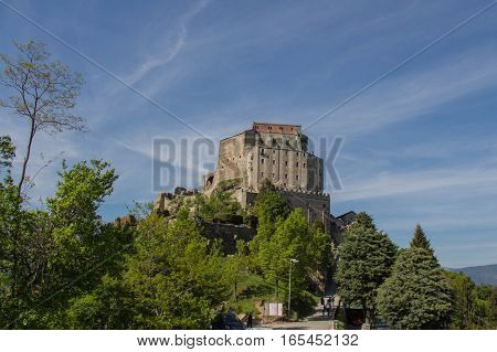 Italy Piedmont - May 9 2015: view of Saint Michael's Abbey in Val di Susa on May 9 2015 in Piedmont Italy.