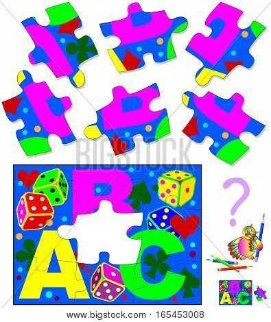 Logic puzzle. Find and draw the only one piece that corresponds to picture. Vector  cartoon image.