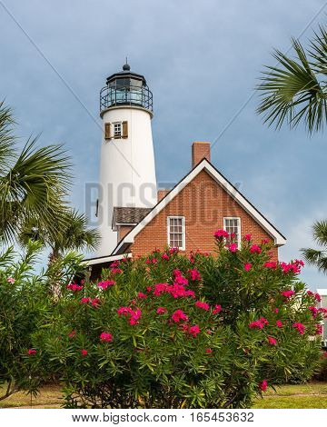Lighthouse on St George Island with bush covered in pink flowers