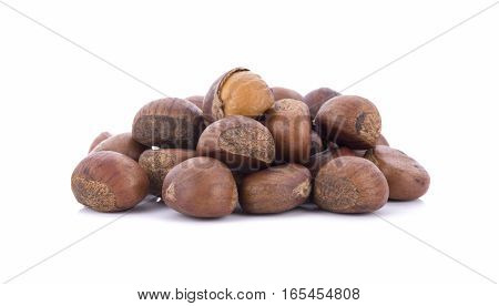 roasted chestnuts isolated on white  . .