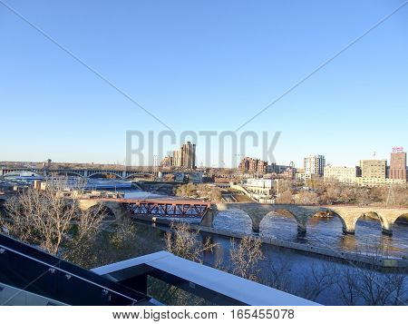 Lock and dam No. 1 in Minneapolis Minnesota during the fall