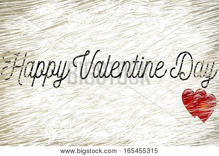 Happy Valentine Day Word Shape On Grunge Old Vintage Paper Background With Red Hearts Shape, Holiday