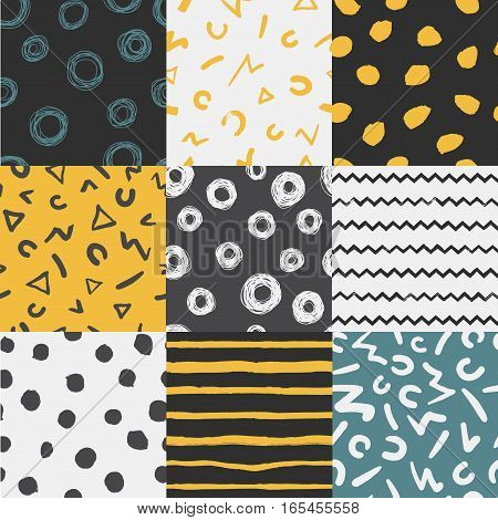 Set of 9 Decorative seamless patterns with handdrawn shapes. Hand painted grungy colorful ink doodles on bright background. Trendy endless texture for digital paper, fabric, backdrops, wrapping