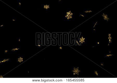 Abstract Gold Glitter Sparkle Christmas Snowflakes Falling Down Snow From Top, Winter Holiday Xmas S