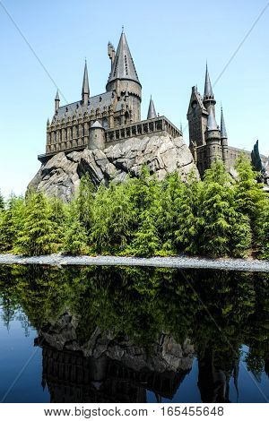 Harry Potter castle at Disneyland Osaka in Japan