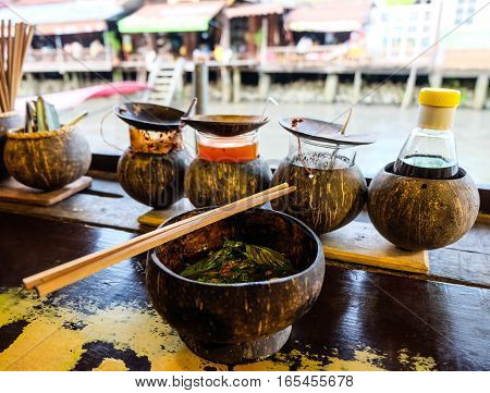 Thai noodle in a coconut shell Thailand