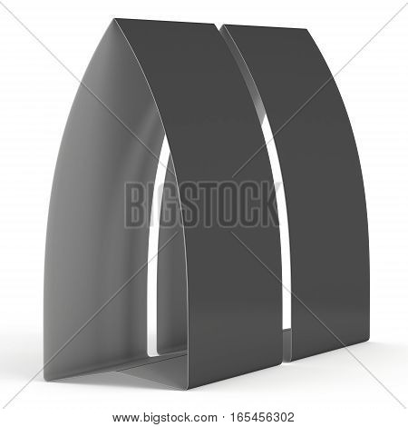 Two black paper tent cards. 3d render illustration isolated. Table cards mock up on white background.