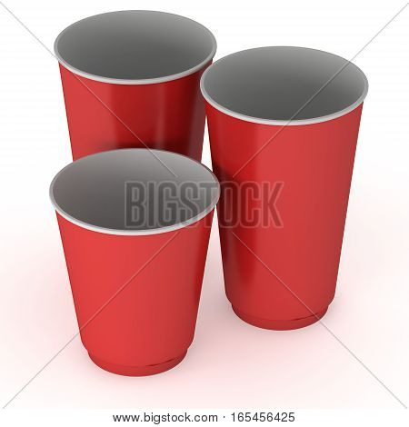 Disposable drink cups. Red paper mug. 3d render isolated on white background