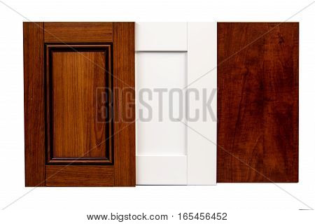 Modern wooden kitchen front raised panels for kitchen cabinets. Interior renovation. Isolated on white background.