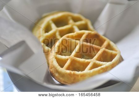 waffle or breakfast dish on the table