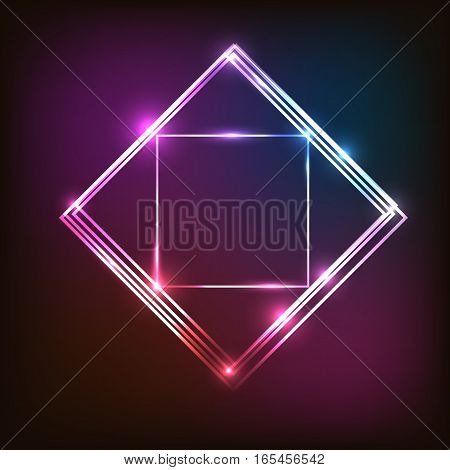 Abstract neon background with squares, stock vector