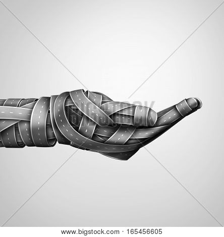 Transportation safety hand and highway assistance and transport support or driving drunk help metaphor with a group of highway or streets shaped as a human holding gesture as a 3D illustration.