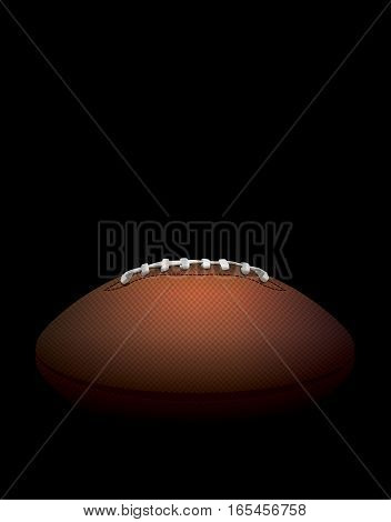 A side profile view of a leather American Football hidden in shadows against a black background. Vector EPS 10 illustration available.