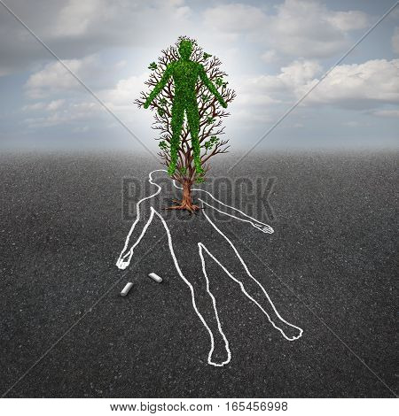 Life after death concept and afterlife symbol or renewal hope metaphor as a tree shaped as a human growing from an asphalt floor with a chalk drawing of a dead person in a 3D illustration style.