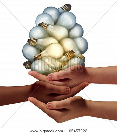 Group creativity success and team innovation idea as diverse hands holding many light bulbs with 3D illustration elements as a metaphor for teamwork creative thinking.
