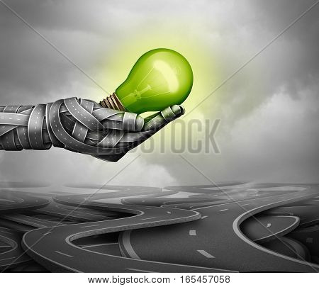 Green driving concept as a hand made of roads holding a glowing light bulb as an electric energy transport fuel economy technology symbol as a 3D illustration.