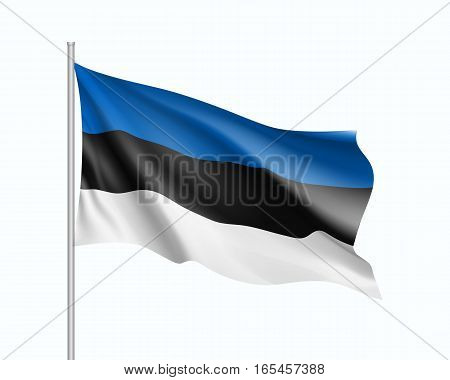 Waving flag of Estonia state. Illustration of European country flag on flagpole. Vector 3d icon isolated on white background
