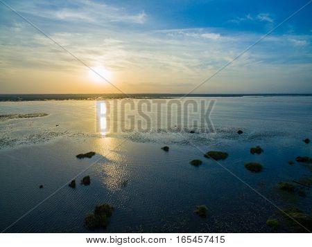 Aerial View Of Sunset And The Lake In Thailand At Twilight