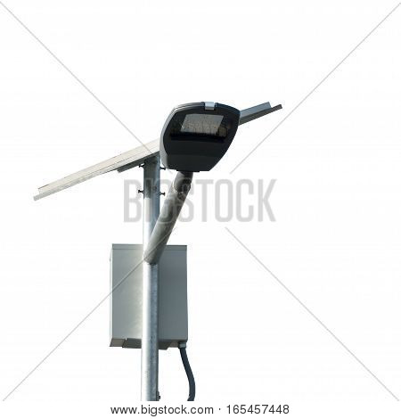 Led Street Lamps Post With Solar Cell On White Background Closeup