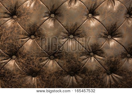 Luxury Brown Or Black Leather With Button Texture Background Closeup