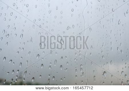 Water Drop Or Raindrop On Glass Mirror Abstract Background