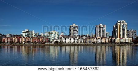 Apartment Buildings on the waterfront of New Westminster Downtown