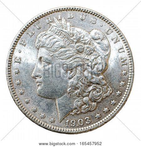 A macro shot of a 1903 Morgan Dollar silver coin obverse.