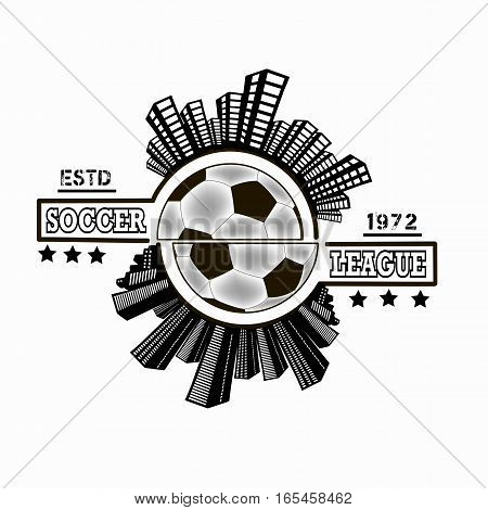 Logo Soccer league with urban elements on the background of a soccer ball. Vector illustration