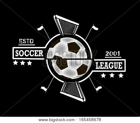 Logo soccer league with gates and flags on corner kick on the background of a soccer ball. Vector illustration
