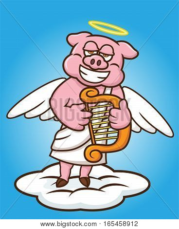Angel Pig Standing on Cloud and Playing Harp Cartoon Illustration