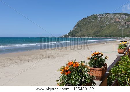 View of Terracina beach in May Lazio, Italy.