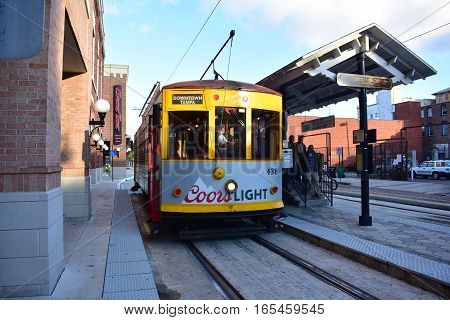 Tampa, Florida - Usa - January 07, 2016 :  Streetcar In Ybor City