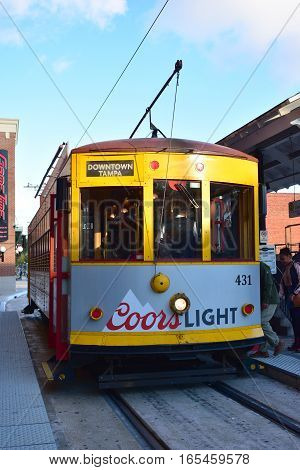 Tampa, Florida - Usa - January 07, 2016 :  Ybor City Streetcar