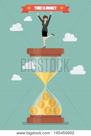 Business woman celebrating on a sandglass. Time is money