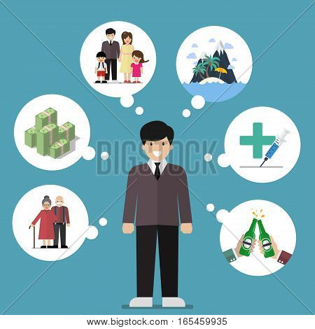 Businessman dreaming a good life. Concept of work and life balance