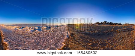 360 Sunrise Panorama Border The Sandy Beach And Of Lake Baikal Ice