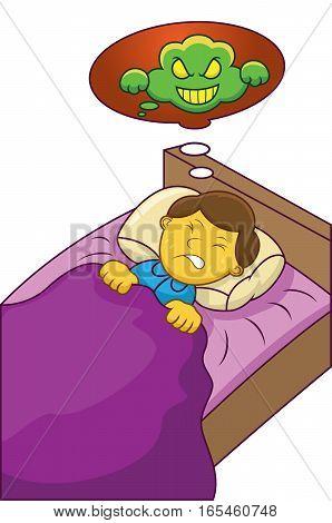 Boy Having Nightmare Cartoon Illustration Isolated on White