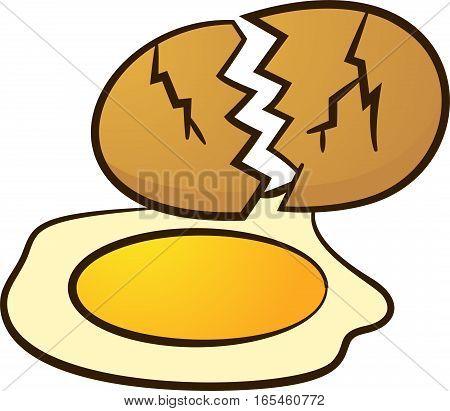 Broken Egg Cartoon Illustration Isoalted on White Background