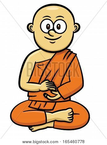 Buddhist Monk Cartoon Character. Vector Illustration Isolated on White.