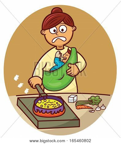 Busy Mother Cooking While Carrying Her Baby Cartoon Illustration