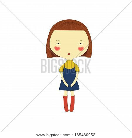 Cute girl wearing a skirt on white background
