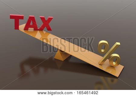 Tax Concept with percentage symbol - 3D Rendered Image